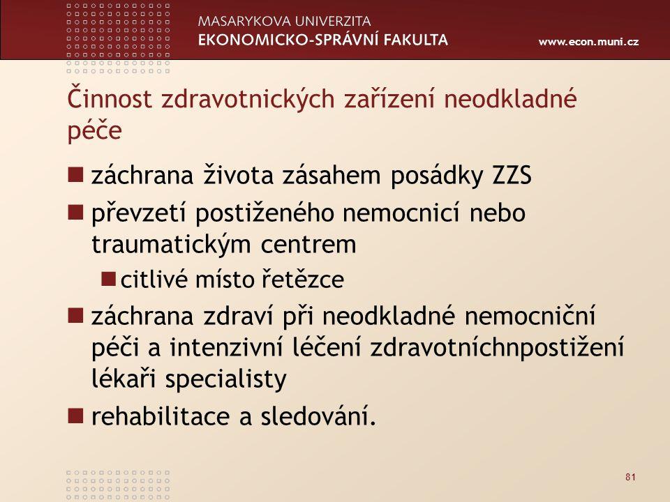 www.econ.muni.cz Činnost zdravotnických zařízení neodkladné péče záchrana života zásahem posádky ZZS převzetí postiženého nemocnicí nebo traumatickým centrem citlivé místo řetězce záchrana zdraví při neodkladné nemocniční péči a intenzivní léčení zdravotníchnpostižení lékaři specialisty rehabilitace a sledování.