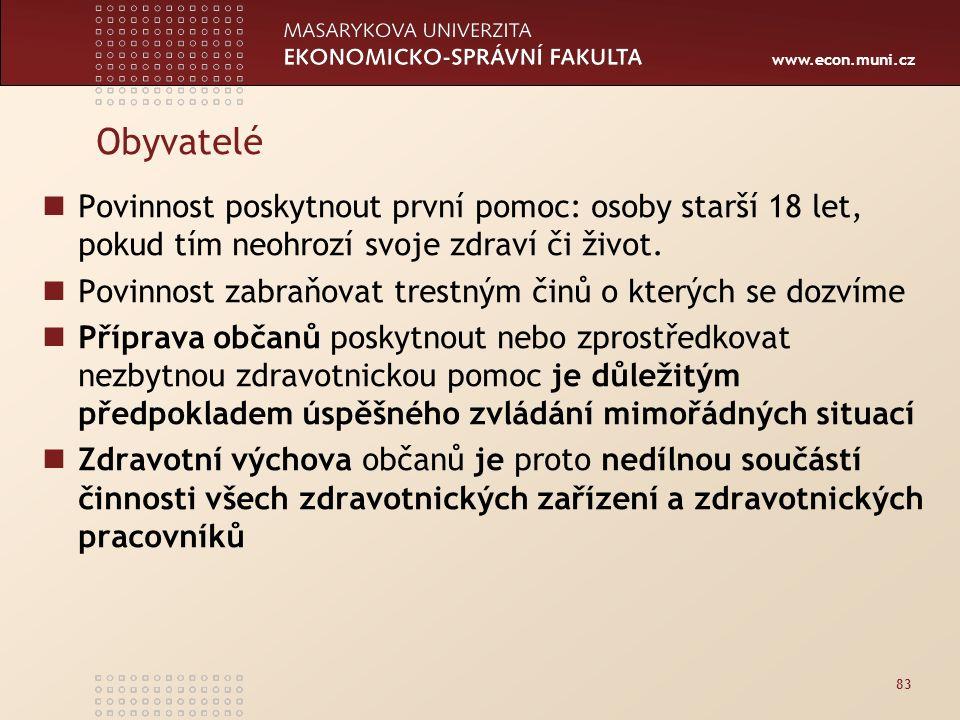 www.econ.muni.cz Obyvatelé Povinnost poskytnout první pomoc: osoby starší 18 let, pokud tím neohrozí svoje zdraví či život.