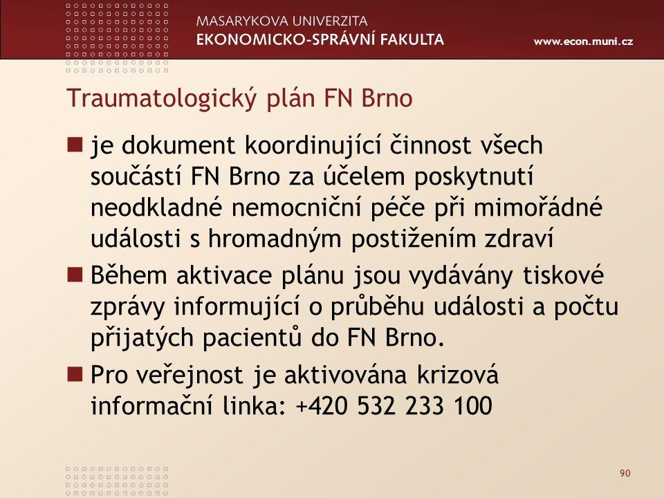 www.econ.muni.cz Traumatologický plán FN Brno je dokument koordinující činnost všech součástí FN Brno za účelem poskytnutí neodkladné nemocniční péče při mimořádné události s hromadným postižením zdraví Během aktivace plánu jsou vydávány tiskové zprávy informující o průběhu události a počtu přijatých pacientů do FN Brno.