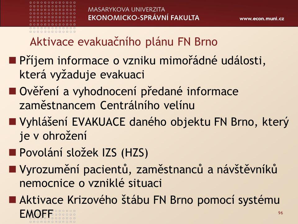 www.econ.muni.cz Aktivace evakuačního plánu FN Brno Příjem informace o vzniku mimořádné události, která vyžaduje evakuaci Ověření a vyhodnocení předané informace zaměstnancem Centrálního velínu Vyhlášení EVAKUACE daného objektu FN Brno, který je v ohrožení Povolání složek IZS (HZS) Vyrozumění pacientů, zaměstnanců a návštěvníků nemocnice o vzniklé situaci Aktivace Krizového štábu FN Brno pomocí systému EMOFF 96