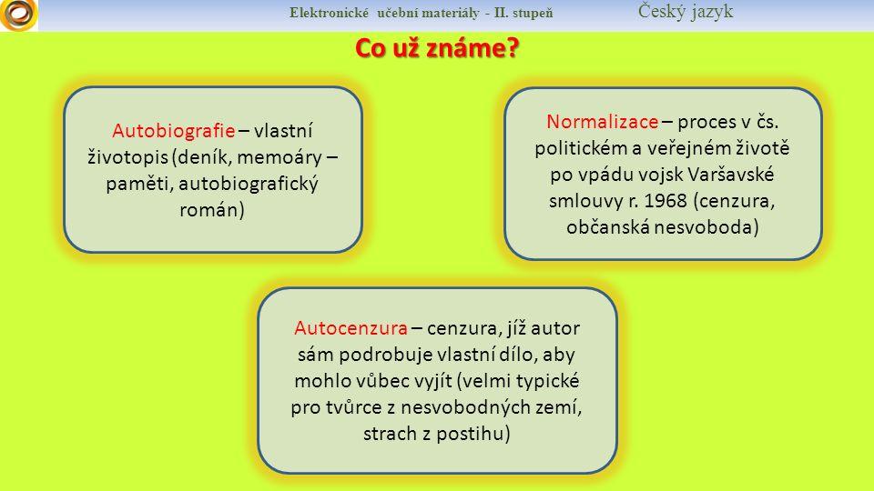 Elektronické učební materiály - II.stupeň Český jazyk BOHUMIL HRABAL Narodil se v Brně.