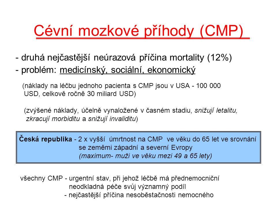Cévní mozkové příhody (CMP) - druhá nejčastější neúrazová příčina mortality (12%) - problém: medicínský, sociální, ekonomický (náklady na léčbu jednoho pacienta s CMP jsou v USA - 100 000 USD, celkově ročně 30 miliard USD) (zvýšené náklady, účelně vynaložené v časném stadiu, snižují letalitu, zkracují morbiditu a snižují invaliditu) všechny CMP - urgentní stav, při jehož léčbě má přednemocniční neodkladná péče svůj významný podíl - nejčastější příčina nesoběstačnosti nemocného Česká republika - 2 x vyšší úmrtnost na CMP ve věku do 65 let ve srovnání se zeměmi západní a severní Evropy (maximum- muži ve věku mezi 49 a 65 lety)