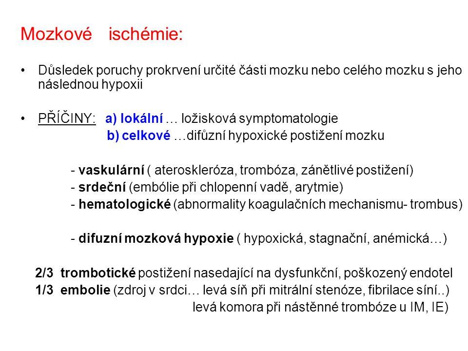Mozkové ischémie: Důsledek poruchy prokrvení určité části mozku nebo celého mozku s jeho následnou hypoxii PŘÍČINY: a) lokální … ložisková symptomatologie b) celkové …difůzní hypoxické postižení mozku - vaskulární ( ateroskleróza, trombóza, zánětlivé postižení) - srdeční (embólie při chlopenní vadě, arytmie) - hematologické (abnormality koagulačních mechanismu- trombus) - difuzní mozková hypoxie ( hypoxická, stagnační, anémická…) 2/3 trombotické postižení nasedající na dysfunkční, poškozený endotel 1/3 embolie (zdroj v srdci… levá síň při mitrální stenóze, fibrilace síní..) levá komora při nástěnné trombóze u IM, IE)