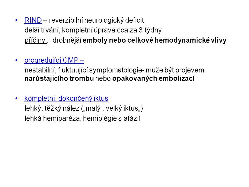 """RIND – reverzibilní neurologický deficit delší trvání, kompletní úprava cca za 3 týdny příčiny : drobnější emboly nebo celkové hemodynamické vlivy progredující CMP – nestabilní, fluktuující symptomatologie- může být projevem narůstajícího trombu nebo opakovaných embolizací kompletní, dokončený iktus lehký, těžký nález (""""malý, velký iktus"""") lehká hemiparéza, hemiplégie s afázií"""