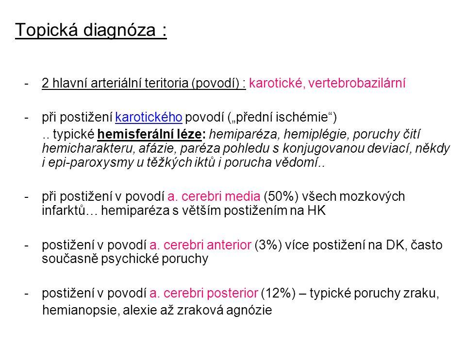"""Topická diagnóza : -2 hlavní arteriální teritoria (povodí) : karotické, vertebrobazilární -při postižení karotického povodí (""""přední ischémie ).."""