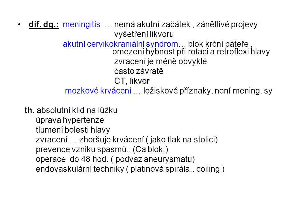 dif. dg.: meningitis … nemá akutní začátek, zánětlivé projevy vyšetření likvoru akutní cervikokraniální syndrom… blok krční páteře, omezení hybnost př