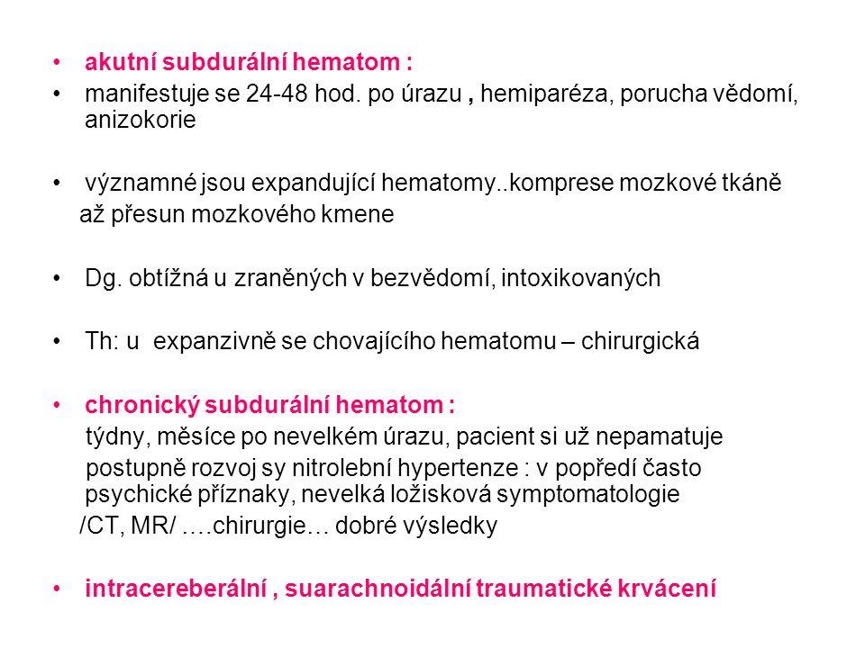 akutní subdurální hematom : manifestuje se 24-48 hod.