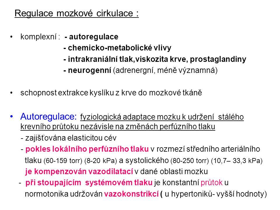 Regulace mozkové cirkulace : komplexní : - autoregulace - chemicko-metabolické vlivy - intrakraniální tlak,viskozita krve, prostaglandiny - neurogenní (adrenergní, méně významná) schopnost extrakce kyslíku z krve do mozkové tkáně Autoregulace: fyziologická adaptace mozku k udržení stálého krevního průtoku nezávisle na změnách perfúzního tlaku - zajišťována elasticitou cév - pokles lokálního perfůzního tlaku v rozmezí středního arteriálního tlaku (60-159 torr) (8-20 kPa) a systolického (80-250 torr) (10,7– 33,3 kPa) je kompenzován vazodilatací v dané oblasti mozku - při stoupajícím systémovém tlaku je konstantní průtok u normotonika udržován vazokonstrikcí ( u hypertoniků- vyšší hodnoty)