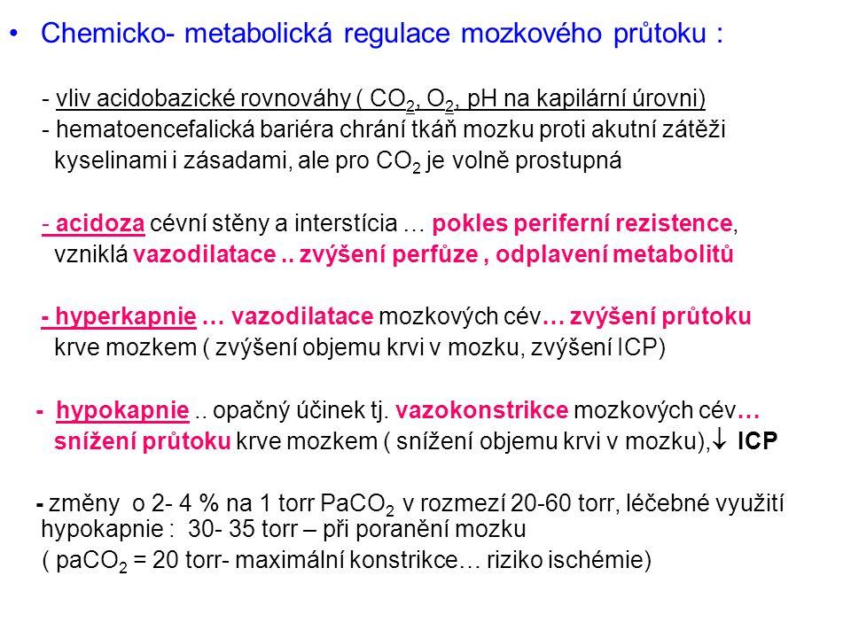 Chemicko- metabolická regulace mozkového průtoku : - vliv acidobazické rovnováhy ( CO 2, O 2, pH na kapilární úrovni) - hematoencefalická bariéra chrání tkáň mozku proti akutní zátěži kyselinami i zásadami, ale pro CO 2 je volně prostupná - acidoza cévní stěny a interstícia … pokles periferní rezistence, vzniklá vazodilatace..