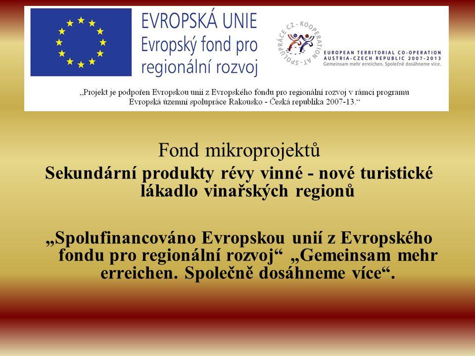 """Fond mikroprojektů Sekundární produkty révy vinné - nové turistické lákadlo vinařských regionů """"Spolufinancováno Evropskou unií z Evropského fondu pro"""