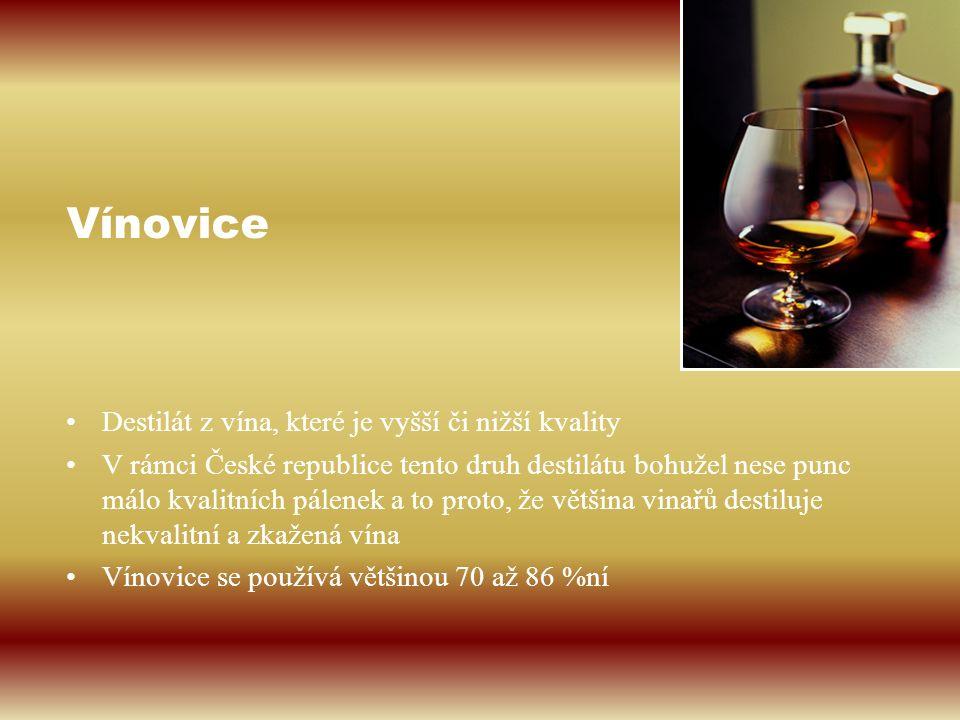 Vínovice Destilát z vína, které je vyšší či nižší kvality V rámci České republice tento druh destilátu bohužel nese punc málo kvalitních pálenek a to