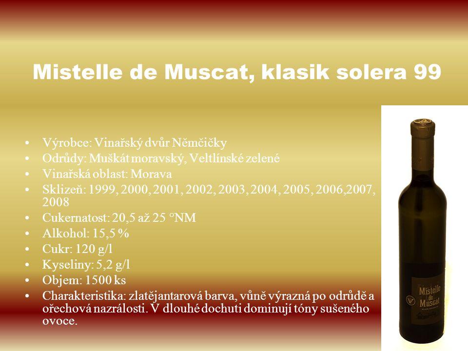 Mistelle de Muscat, klasik solera 99 Výrobce: Vinařský dvůr Němčičky Odrůdy: Muškát moravský, Veltlínské zelené Vinařská oblast: Morava Sklizeň: 1999,