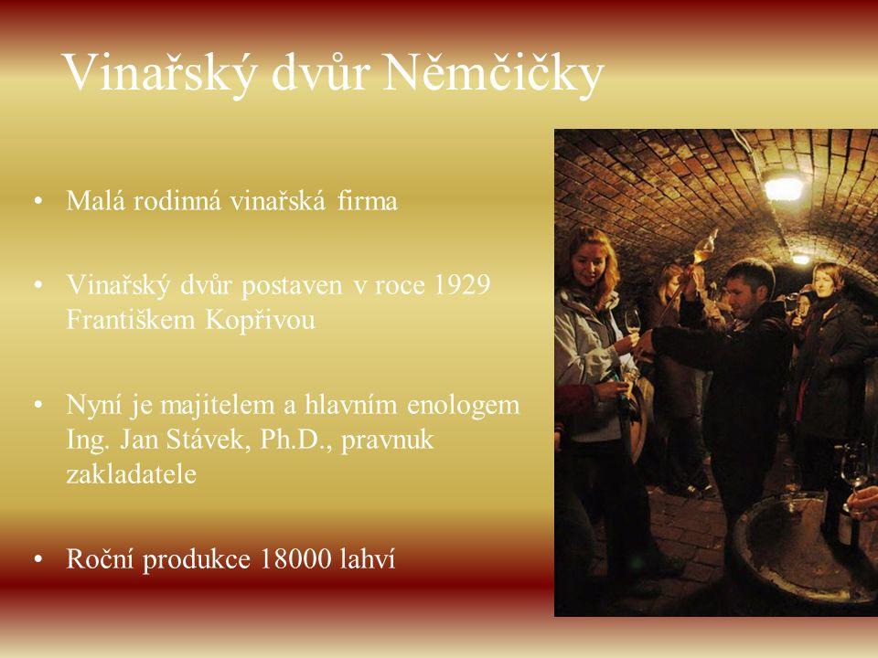 Vinařský dvůr Němčičky Malá rodinná vinařská firma Vinařský dvůr postaven v roce 1929 Františkem Kopřivou Nyní je majitelem a hlavním enologem Ing. Ja