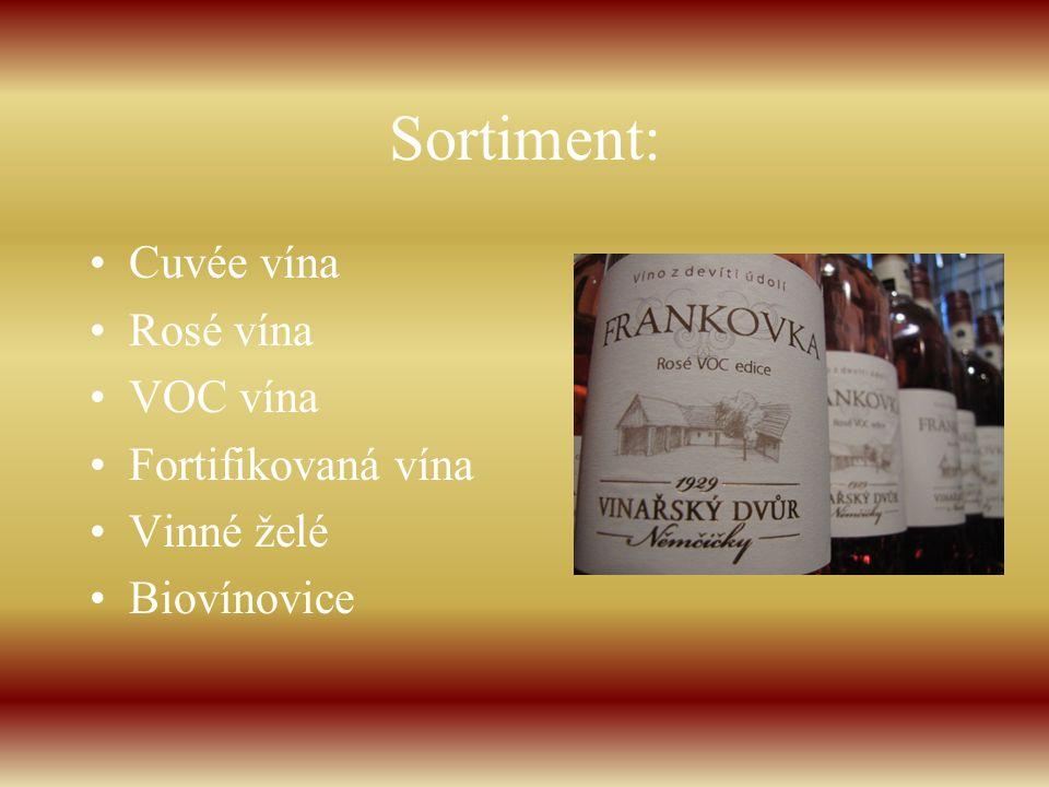Sortiment: Cuvée vína Rosé vína VOC vína Fortifikovaná vína Vinné želé Biovínovice