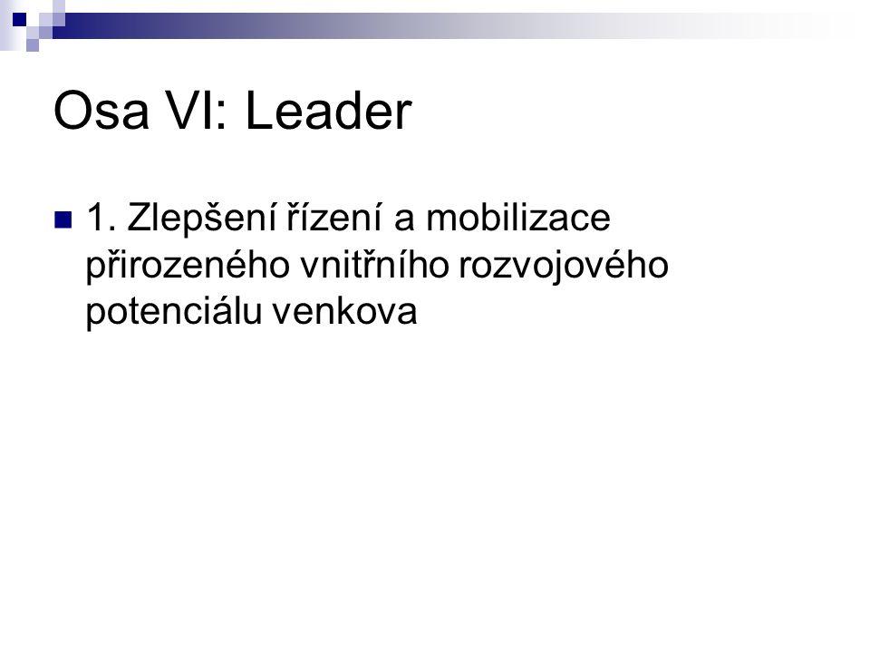 Osa VI: Leader 1. Zlepšení řízení a mobilizace přirozeného vnitřního rozvojového potenciálu venkova