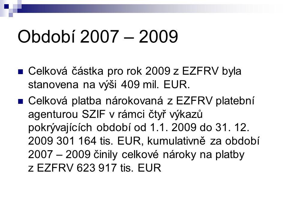 Období 2007 – 2009 Celková částka pro rok 2009 z EZFRV byla stanovena na výši 409 mil.