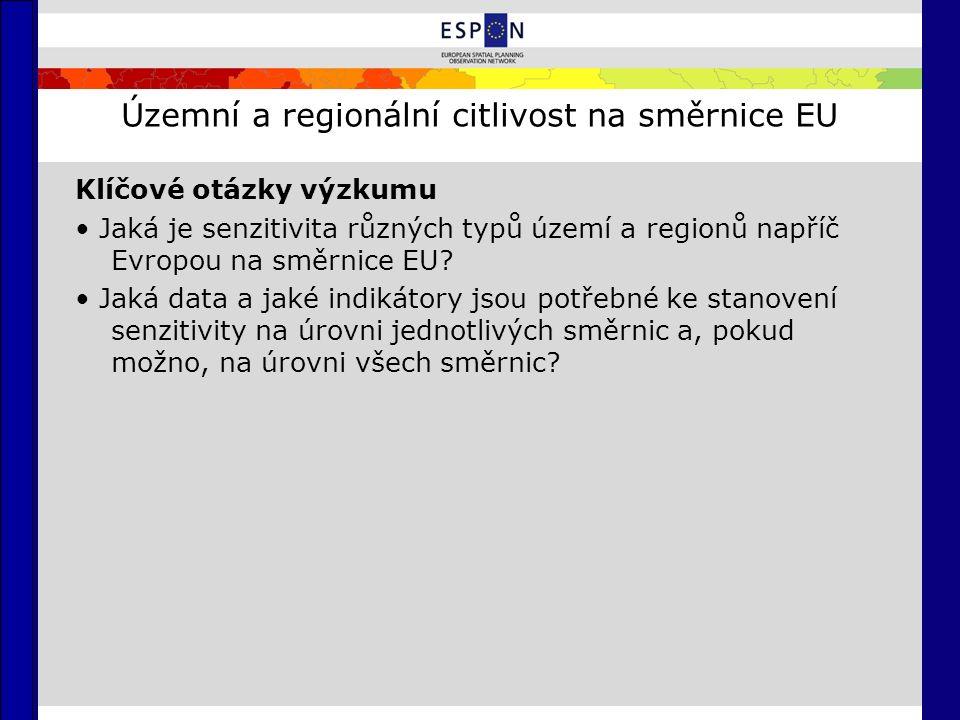 Územní a regionální citlivost na směrnice EU Klíčové otázky výzkumu Jaká je senzitivita různých typů území a regionů napříč Evropou na směrnice EU.