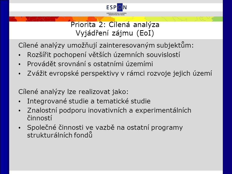 Priorita 2: Cílená analýza Vyjádření zájmu (EoI) Cílené analýzy umožňují zainteresovaným subjektům: Rozšířit pochopení větších územních souvislostí Provádět srovnání s ostatními územími Zvážit evropské perspektivy v rámci rozvoje jejich území Cílené analýzy lze realizovat jako: Integrované studie a tematické studie Znalostní podporu inovativních a experimentálních činností Společné činnosti ve vazbě na ostatní programy strukturálních fondů