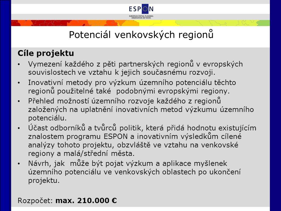 Potenciál venkovských regionů Cíle projektu Vymezení každého z pěti partnerských regionů v evropských souvislostech ve vztahu k jejich současnému rozvoji.