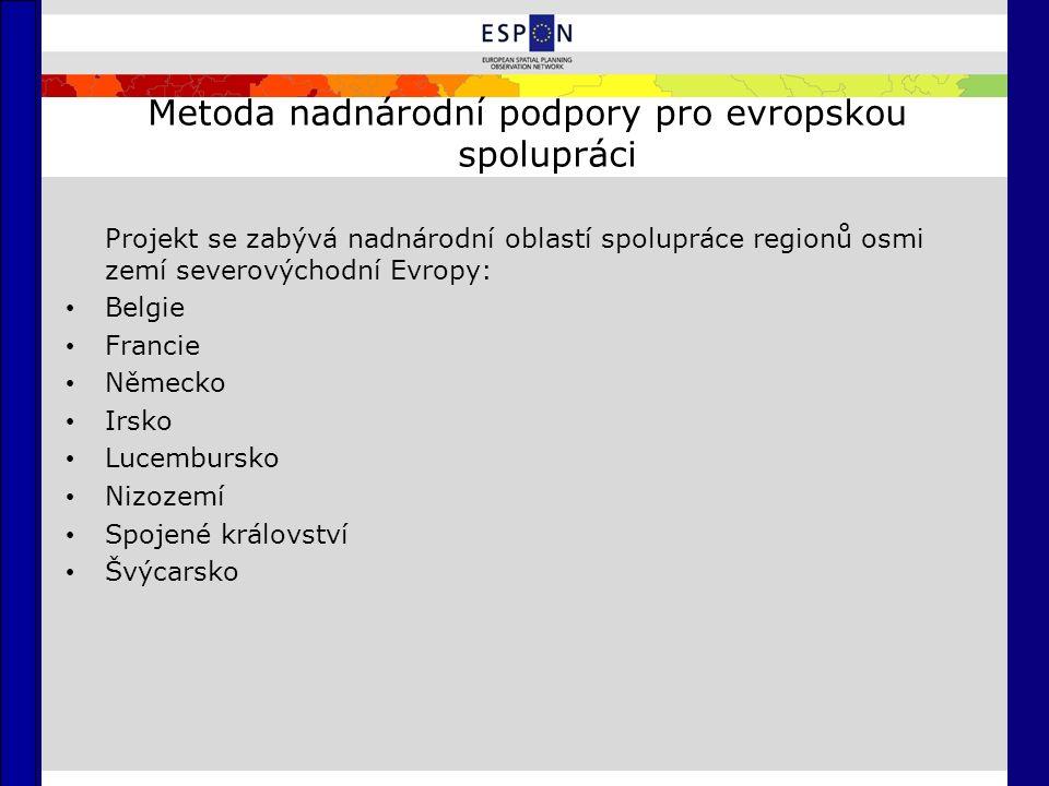 Metoda nadnárodní podpory pro evropskou spolupráci Projekt se zabývá nadnárodní oblastí spolupráce regionů osmi zemí severovýchodní Evropy: Belgie Francie Německo Irsko Lucembursko Nizozemí Spojené království Švýcarsko