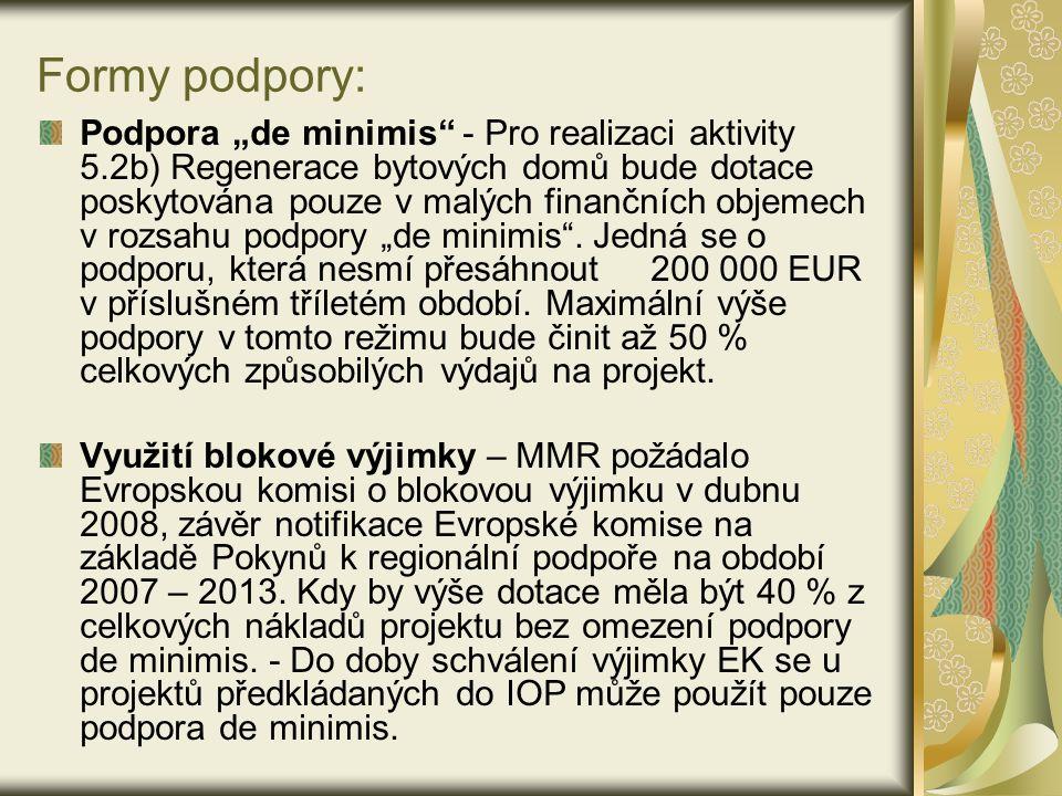 """Formy podpory: Podpora """"de minimis - Pro realizaci aktivity 5.2b) Regenerace bytových domů bude dotace poskytována pouze v malých finančních objemech v rozsahu podpory """"de minimis ."""