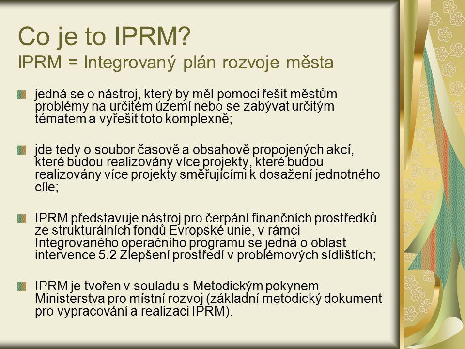 Co je to IPRM? IPRM = Integrovaný plán rozvoje města jedná se o nástroj, který by měl pomoci řešit městům problémy na určitém území nebo se zabývat ur