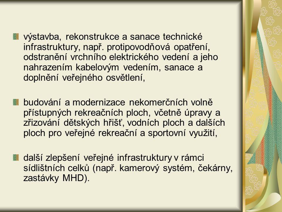 výstavba, rekonstrukce a sanace technické infrastruktury, např.