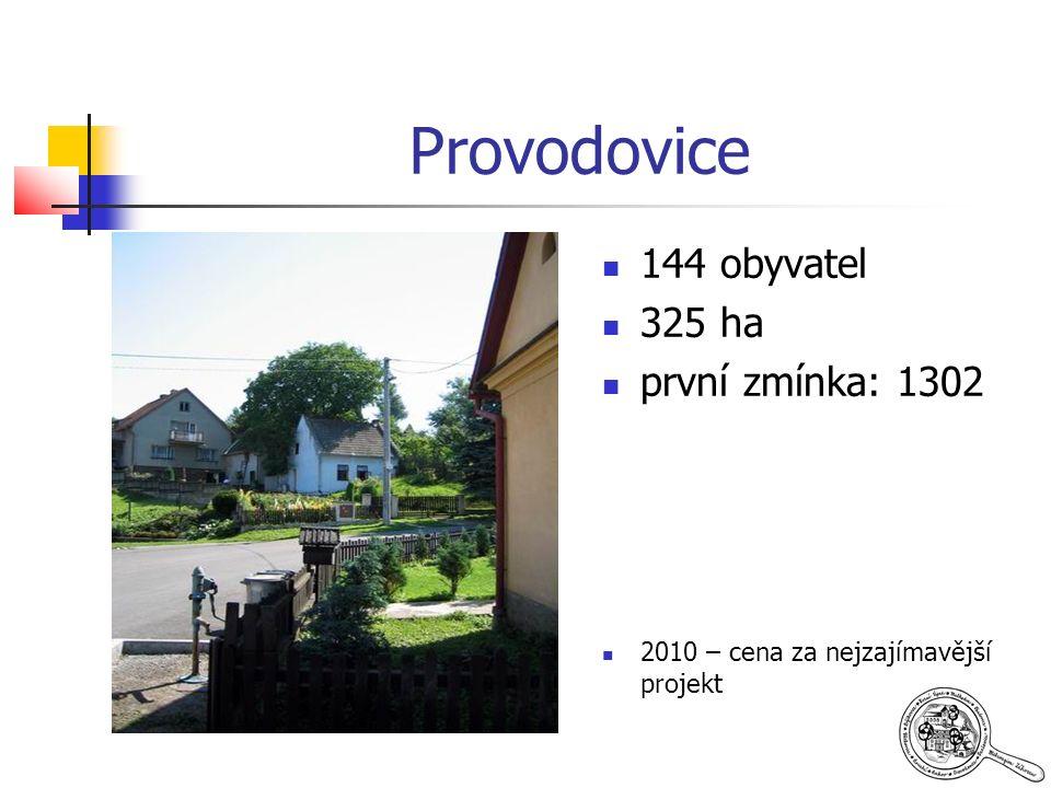 Provodovice 144 obyvatel 325 ha první zmínka: 1302 2010 – cena za nejzajímavější projekt