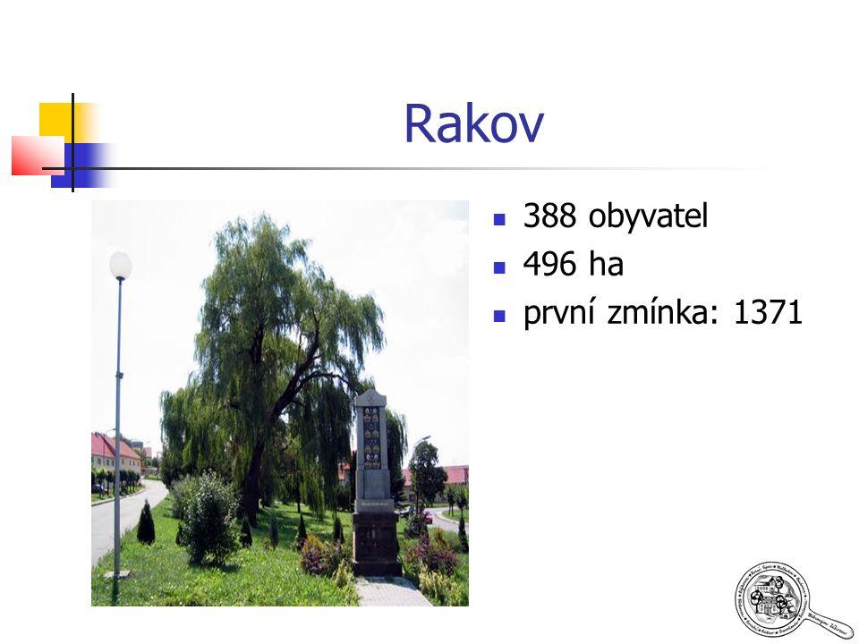 Rakov 388 obyvatel 496 ha první zmínka: 1371