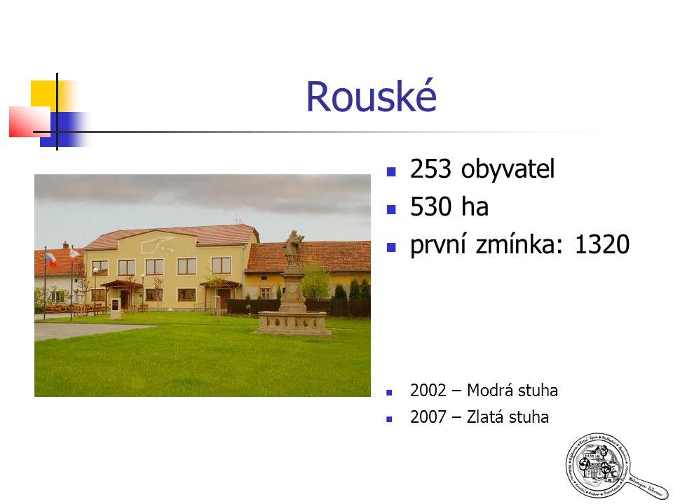 Rouské 253 obyvatel 530 ha první zmínka: 1320 2002 – Modrá stuha 2007 – Zlatá stuha