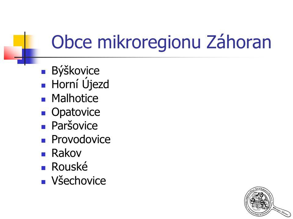 Obce mikroregionu Záhoran Býškovice Horní Újezd Malhotice Opatovice Paršovice Provodovice Rakov Rouské Všechovice