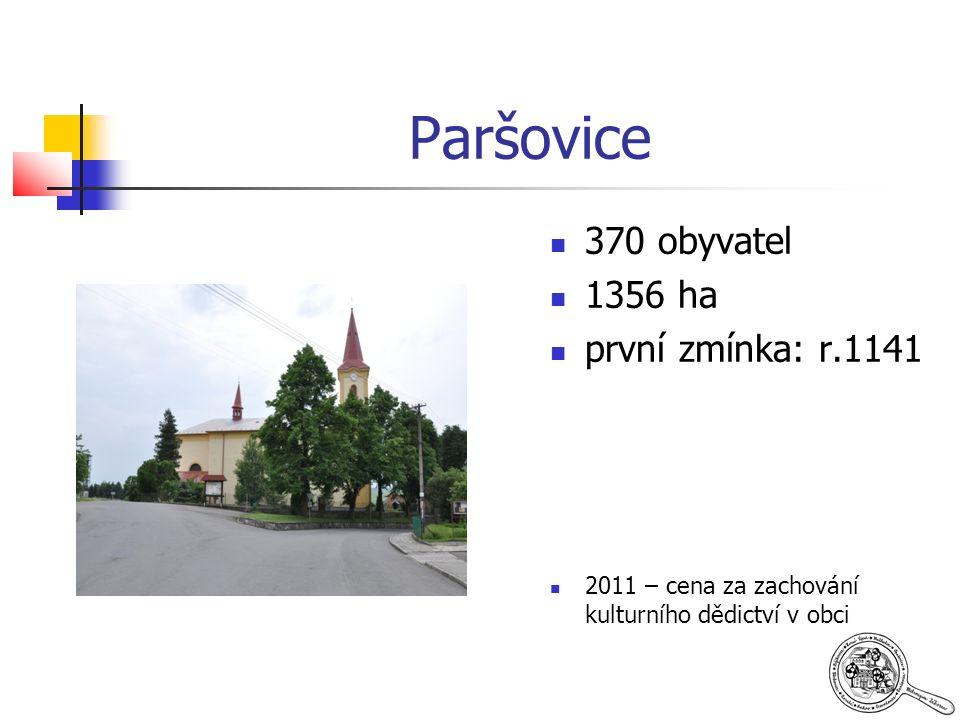 Paršovice 370 obyvatel 1356 ha první zmínka: r.1141 2011 – cena za zachování kulturního dědictví v obci