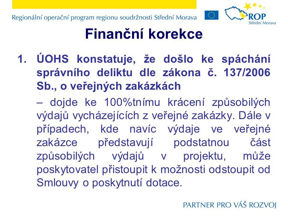 Finanční korekce 1.ÚOHS konstatuje, že došlo ke spáchání správního deliktu dle zákona č.
