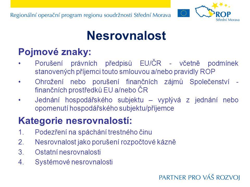 Finanční korekce 3.Ostatní porušení smlouvy/podmínek ROP Střední Morava - dojde k finanční korekci ve výši 0 – 0,5% dotčených způsobilých výdajů, případně 100 % dotčených způsobilých výdajů, nebylo-li porušení ve sjednané lhůtě příjemcem odstraněno nebo bylo-li již neodstranitelné.