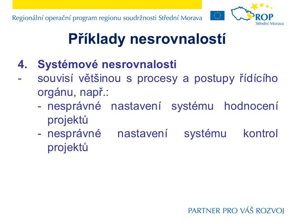 Příklady nesrovnalostí 4.Systémové nesrovnalosti -souvisí většinou s procesy a postupy řídícího orgánu, např.: -nesprávné nastavení systému hodnocení projektů -nesprávné nastavení systému kontrol projektů