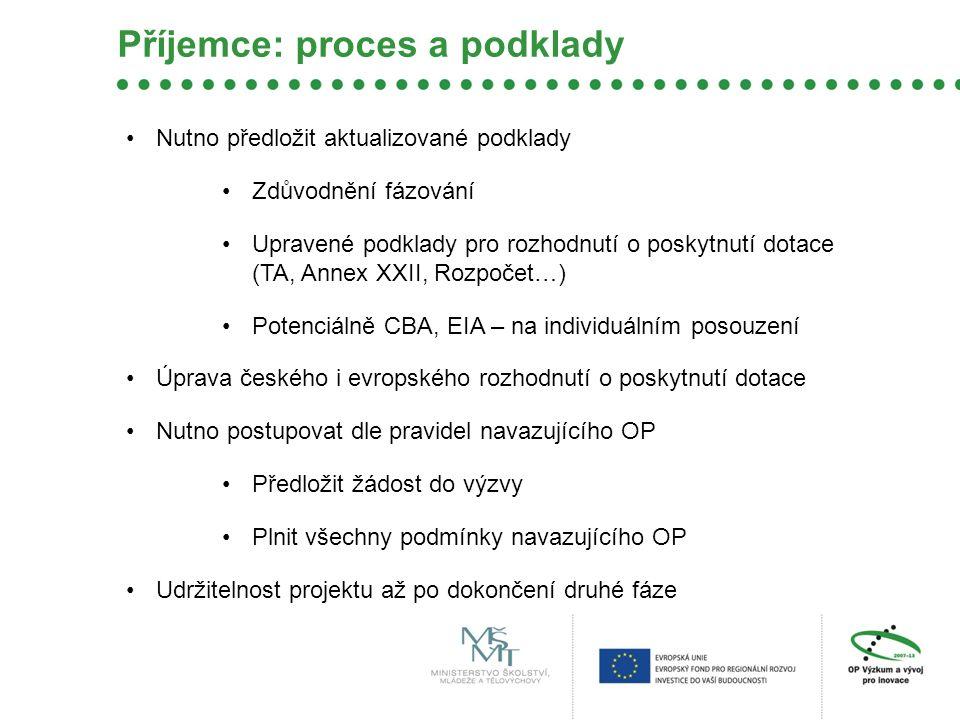 Příjemce: proces a podklady Nutno předložit aktualizované podklady Zdůvodnění fázování Upravené podklady pro rozhodnutí o poskytnutí dotace (TA, Annex XXII, Rozpočet…) Potenciálně CBA, EIA – na individuálním posouzení Úprava českého i evropského rozhodnutí o poskytnutí dotace Nutno postupovat dle pravidel navazujícího OP Předložit žádost do výzvy Plnit všechny podmínky navazujícího OP Udržitelnost projektu až po dokončení druhé fáze