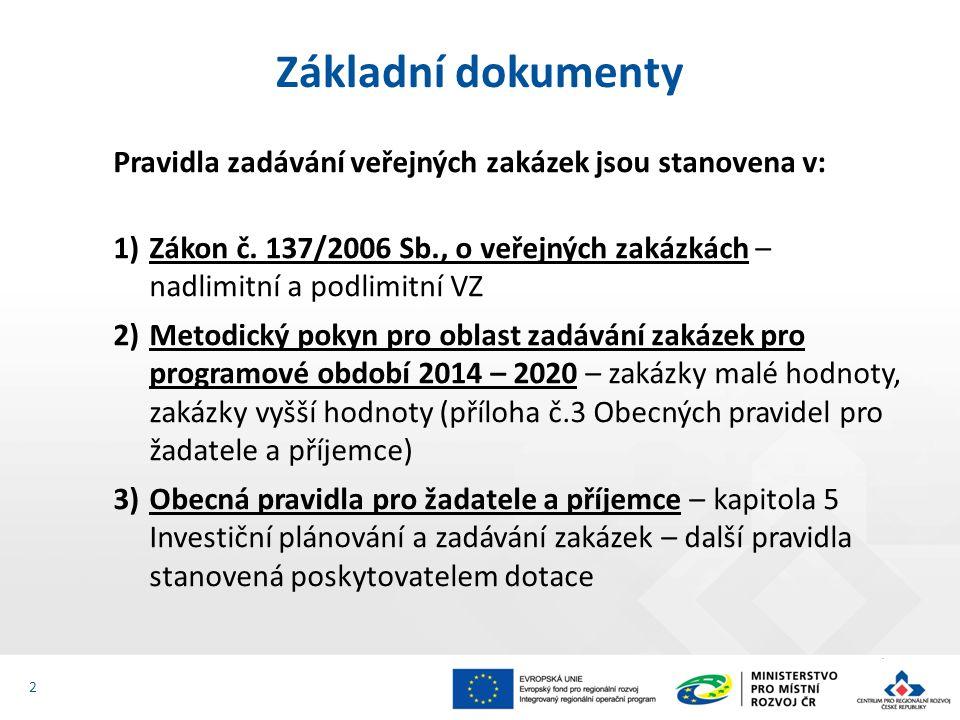 Pravidla zadávání veřejných zakázek jsou stanovena v: 1)Zákon č. 137/2006 Sb., o veřejných zakázkách – nadlimitní a podlimitní VZ 2)Metodický pokyn pr