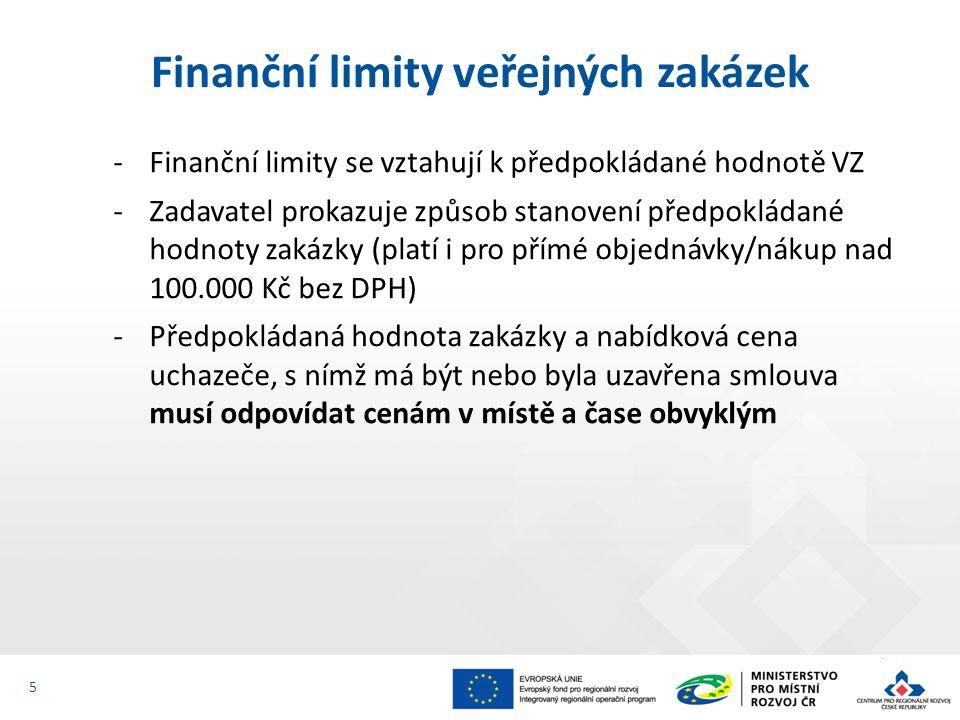 -Finanční limity se vztahují k předpokládané hodnotě VZ -Zadavatel prokazuje způsob stanovení předpokládané hodnoty zakázky (platí i pro přímé objedná