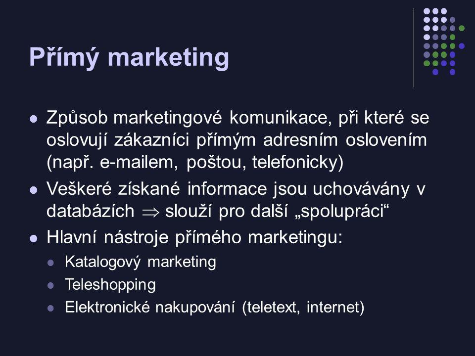 Přímý marketing Způsob marketingové komunikace, při které se oslovují zákazníci přímým adresním oslovením (např. e-mailem, poštou, telefonicky) Vešker