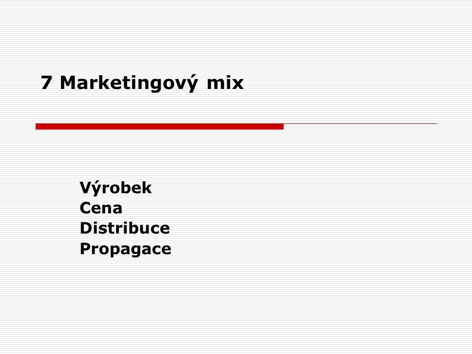 7 Marketingový mix Výrobek Cena Distribuce Propagace
