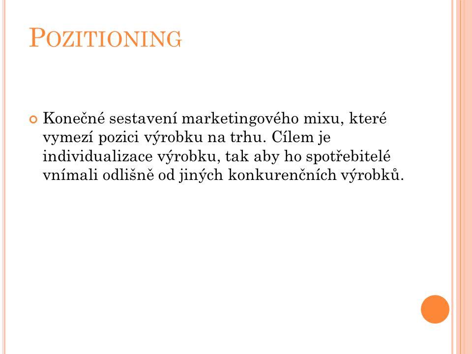 P OZITIONING Konečné sestavení marketingového mixu, které vymezí pozici výrobku na trhu.