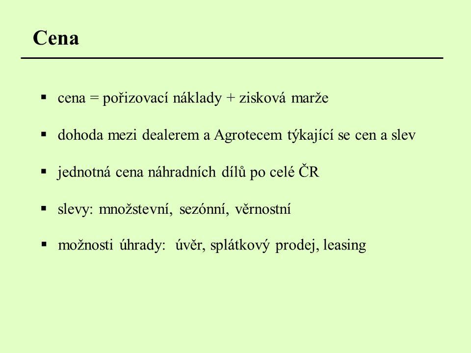 Cena  dohoda mezi dealerem a Agrotecem týkající se cen a slev  jednotná cena náhradních dílů po celé ČR  slevy: množstevní, sezónní, věrnostní  cena = pořizovací náklady + zisková marže  možnosti úhrady: úvěr, splátkový prodej, leasing