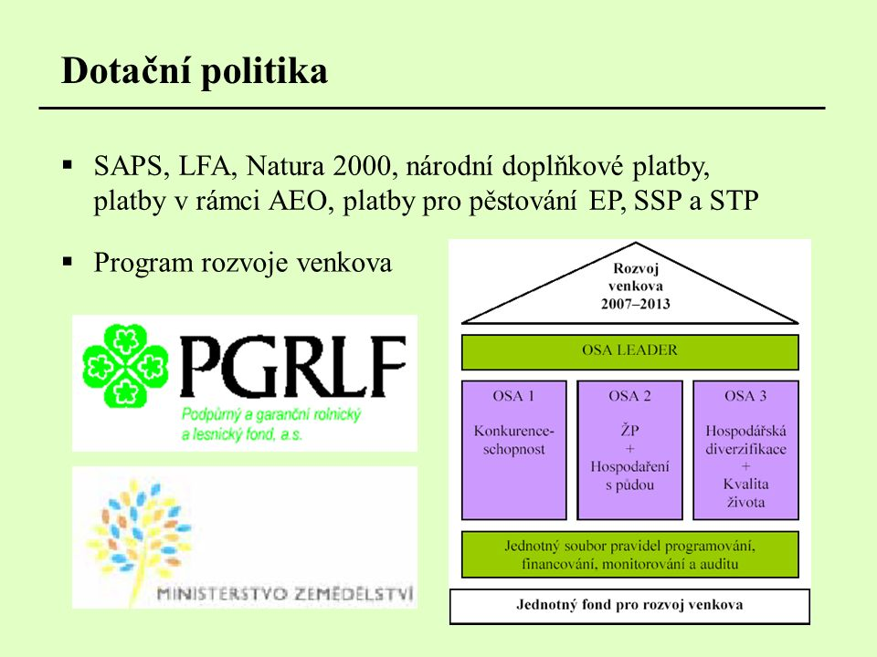 Dotační politika  SAPS, LFA, Natura 2000, národní doplňkové platby, platby v rámci AEO, platby pro pěstování EP, SSP a STP  Program rozvoje venkova