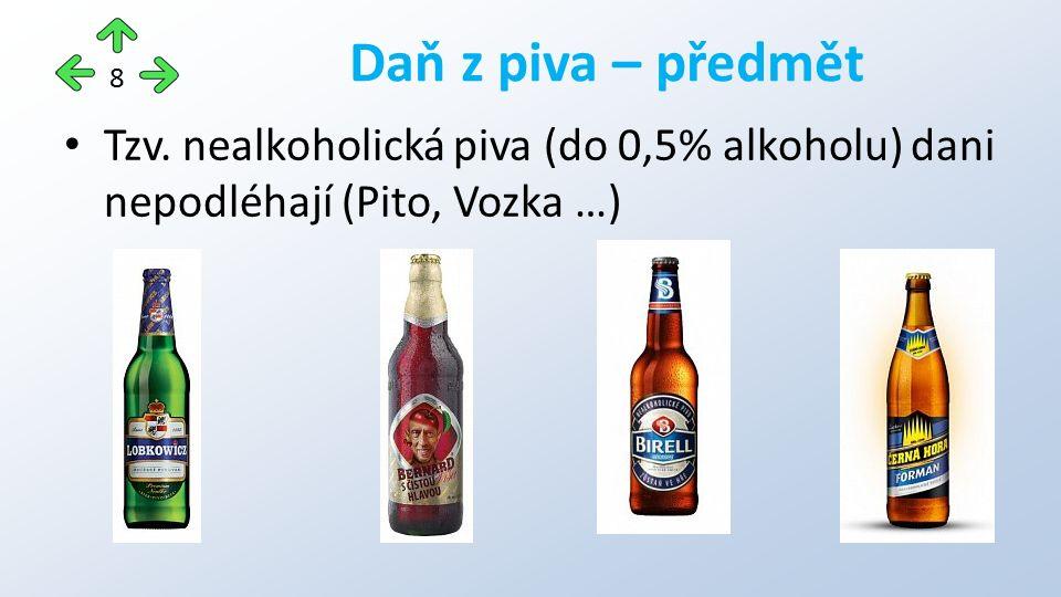 Tzv. nealkoholická piva (do 0,5% alkoholu) dani nepodléhají (Pito, Vozka …) Daň z piva – předmět 8