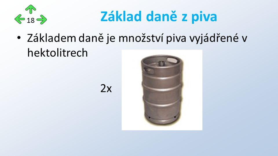 Základem daně je množství piva vyjádřené v hektolitrech 2x Základ daně z piva 18