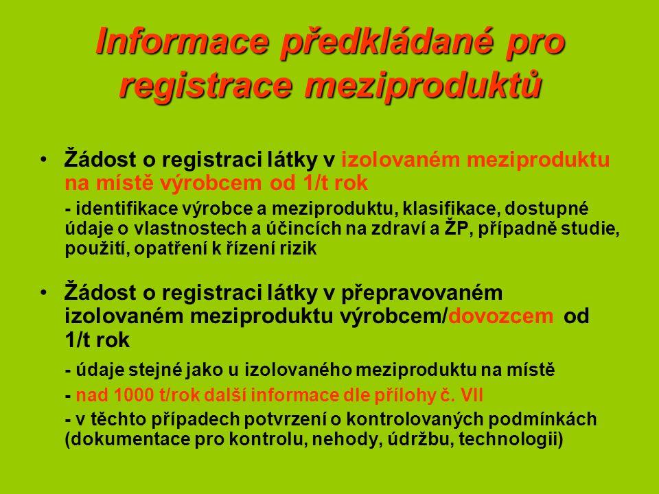 Informace předkládané pro registrace meziproduktů Žádost o registraci látky v izolovaném meziproduktu na místě výrobcem od 1/t rok - identifikace výrobce a meziproduktu, klasifikace, dostupné údaje o vlastnostech a účincích na zdraví a ŽP, případně studie, použití, opatření k řízení rizik Žádost o registraci látky v přepravovaném izolovaném meziproduktu výrobcem/dovozcem od 1/t rok - údaje stejné jako u izolovaného meziproduktu na místě - nad 1000 t/rok další informace dle přílohy č.