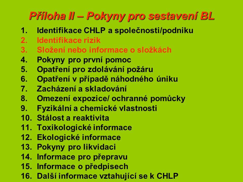 Příloha II – Pokyny pro sestavení BL 1.Identifikace CHLP a společnosti/podniku 2.Identifikace rizik 3.Složení nebo informace o složkách 4.Pokyny pro první pomoc 5.Opatření pro zdolávání požáru 6.Opatření v případě náhodného úniku 7.Zacházení a skladování 8.Omezení expozice/ ochranné pomůcky 9.Fyzikální a chemické vlastnosti 10.Stálost a reaktivita 11.Toxikologické informace 12.Ekologické informace 13.Pokyny pro likvidaci 14.Informace pro přepravu 15.Informace o předpisech 16.Další informace vztahující se k CHLP