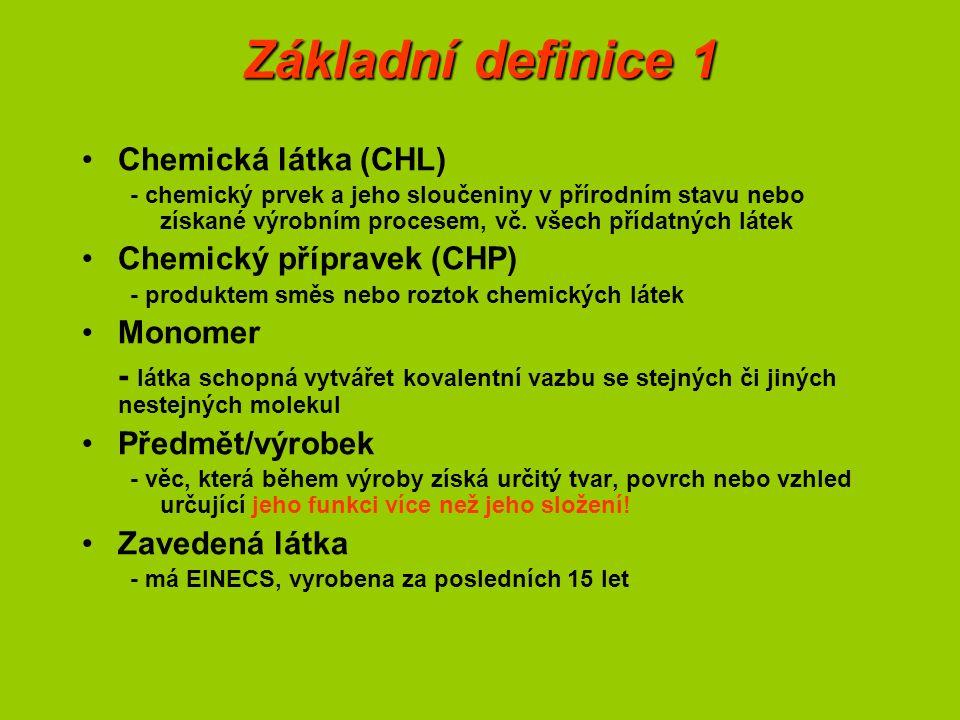 Základní definice 2 Meziprodukt - látka, která je vyráběna a spotřebovávána nebo používána pro účely chemické výroby, aby byla přeměněna na jinou látku (syntéza) –neizolovaný (neopustí reakční aparaturu) –izolovaný (opustí reakční aparaturu) –na místě nebo přepravovaný izolovaný Předmět - předmět, který během výroby získává určitý tvar, povrch nebo vzhled určující jeho funkci (není rozhodující chemické složení) Uvedení na trh - dodání nebo zpřístupnění třetí osobě (i dovoz) Uvedení do oběhu - předání látky po uvedení na trh