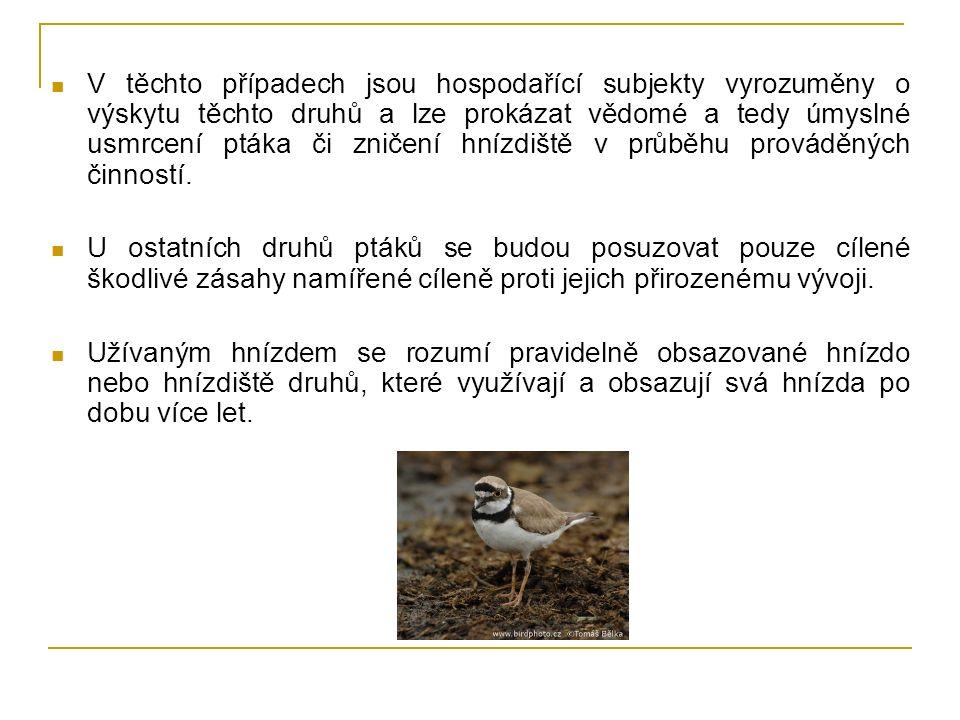 V těchto případech jsou hospodařící subjekty vyrozuměny o výskytu těchto druhů a lze prokázat vědomé a tedy úmyslné usmrcení ptáka či zničení hnízdiště v průběhu prováděných činností.