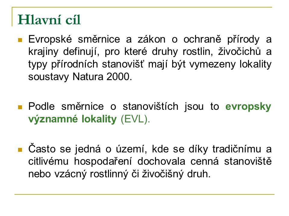 Hlavní cíl Evropské směrnice a zákon o ochraně přírody a krajiny definují, pro které druhy rostlin, živočichů a typy přírodních stanovišť mají být vymezeny lokality soustavy Natura 2000.